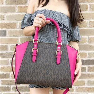 7f092af07ce3 Michael Kors Bags - Michael Kors set large Ciara brown MK Pink Satchel